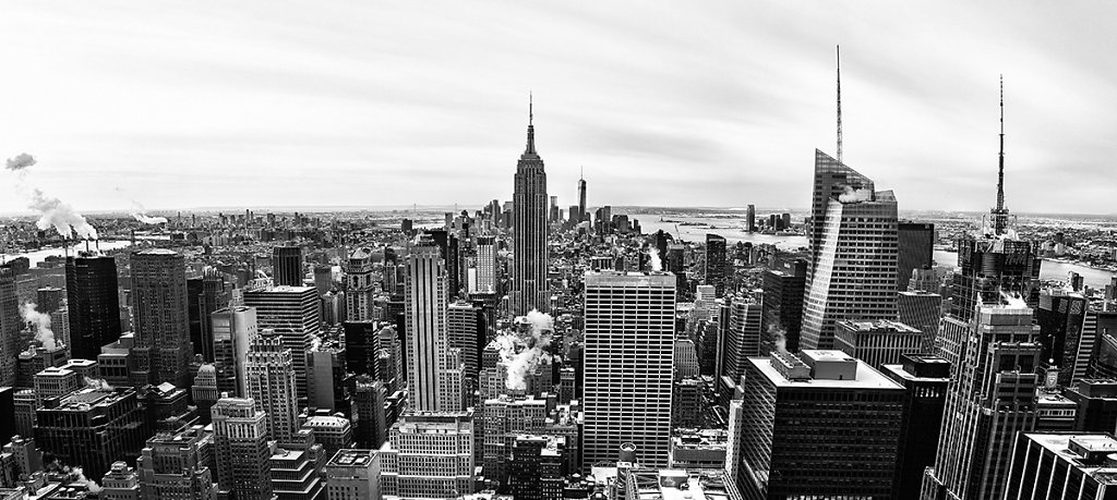 New York - Empire State Building Panorama black/white