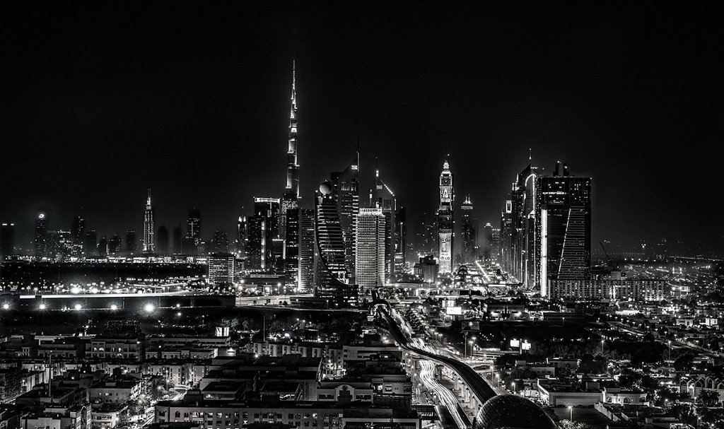 Dubai Skyline black/white